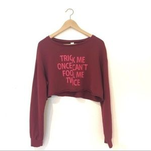 Divided Burgundy Long Sleeves Graphic Crop Top